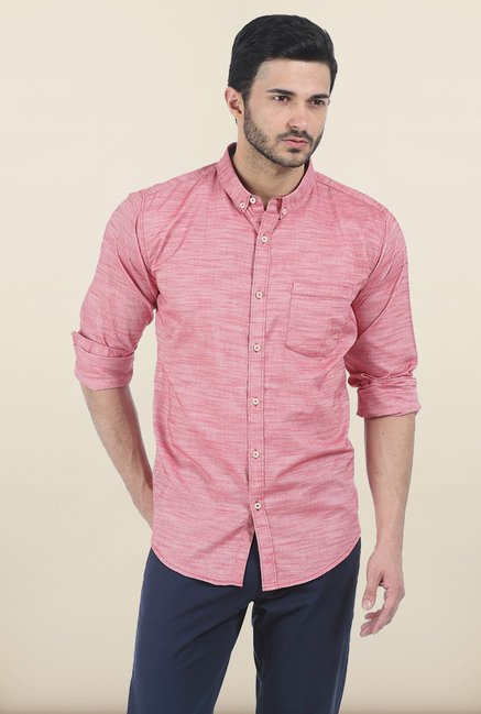 Basics Mars Pink Chambray Slim Fit Shirt
