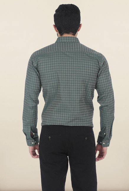 Basics Smoke Pine Houndstooth Slim Fit Shirt