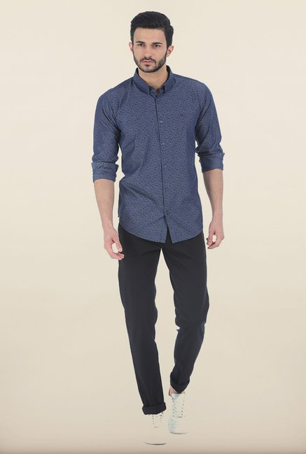Basics Mood Indigo Printed Slim Fit Chambray Shirt