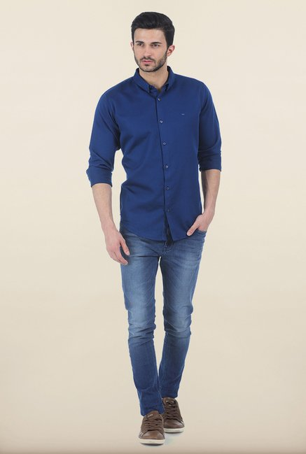Basics Limoges Blue Slim Fit Shirt