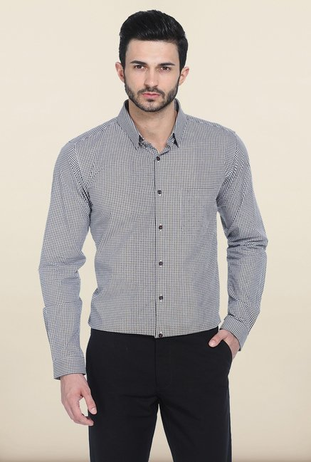 Basics Night Shadow Checked Slim Fit Shirt