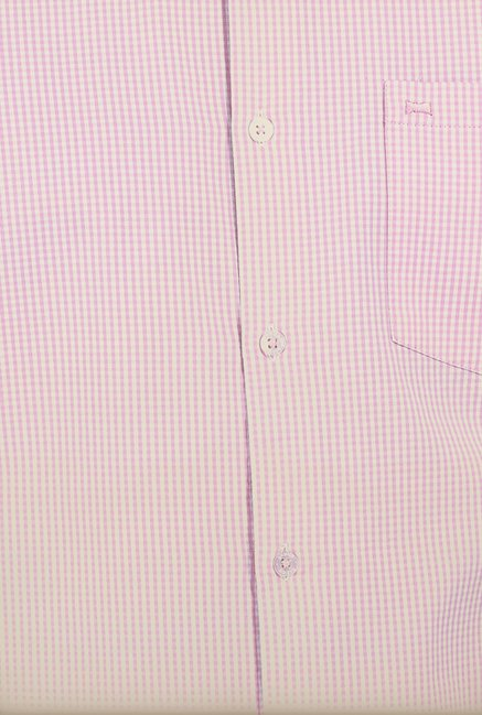 Basics Powder Pink Checked Slim Fit Shirt
