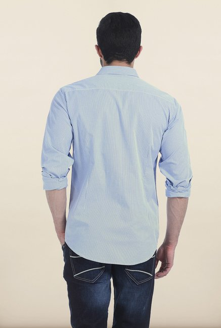 Basics Forever Blue Checked Slim Fit Shirt