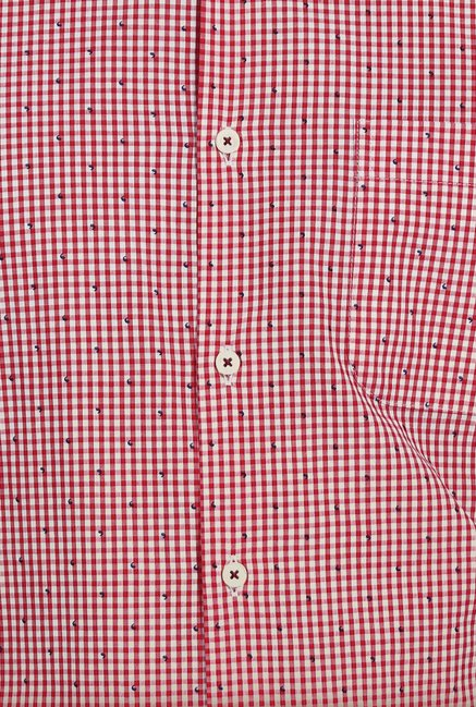 Basics True Red Checked Slim Fit Shirt