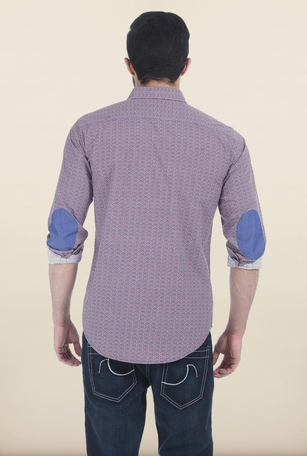 Basics Jester Red Printed Slim Fit Shirt