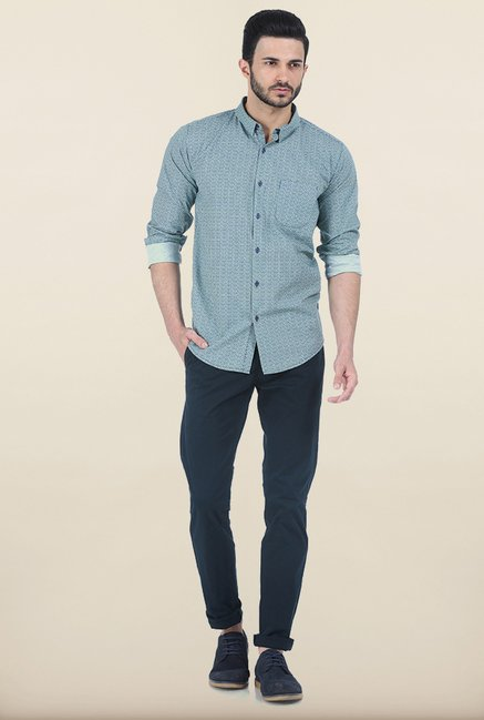Basics Peppermint Green Printed Slim Fit Shirt