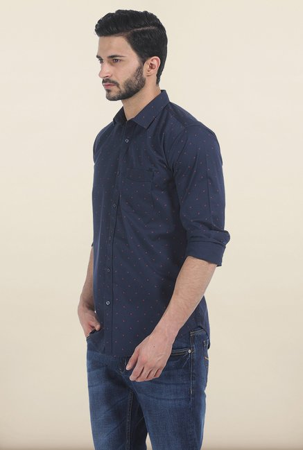Basics Navy Insignia Print Slim Fit Shirt