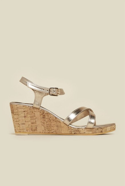Inc.5 Gold Ankle Strap Wedges