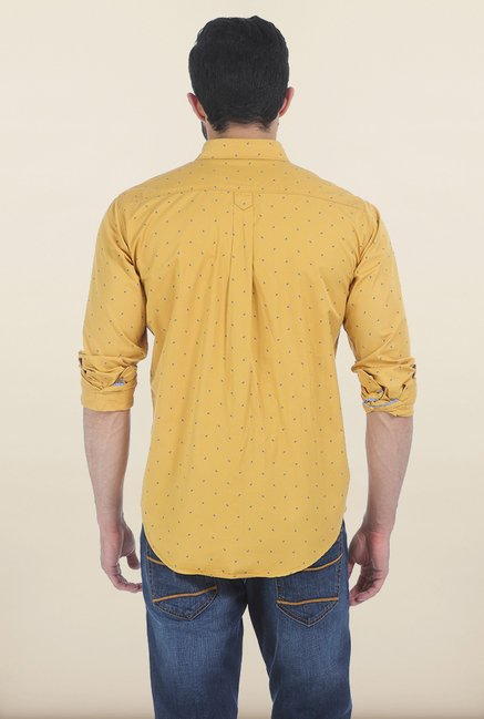 Basics Ochre Yellow Printed Slim Fit Shirt