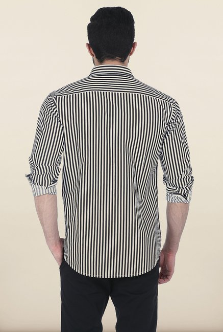 Basics Total Eclipse Satin Striped Slim Fit Shirt