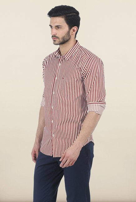 Basics Sun-Dried Red Satin Striped Slim Fit Shirt