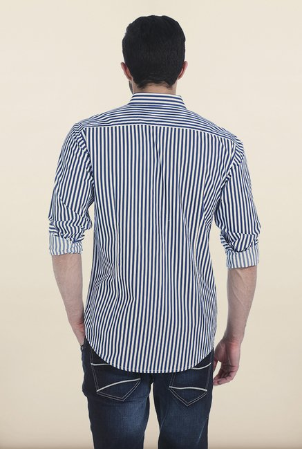 Basics True Navy Satin Striped Slim Fit Shirt