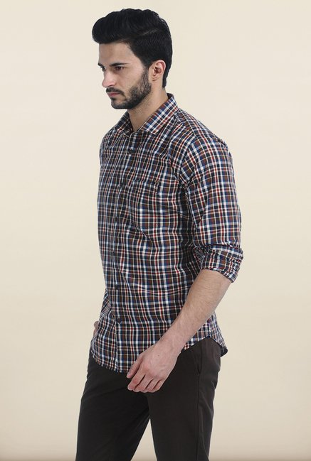 Basics Ermine Brown Checked Slim Fit Shirt