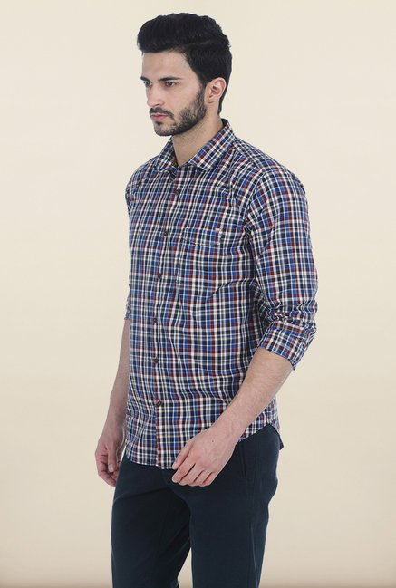 Basics Prince Blue Checked Slim Fit Shirt