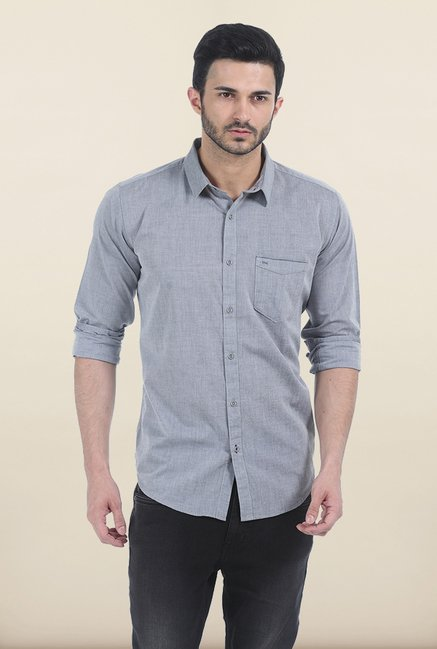 Basics Grey Cloud Slim Fit Chambray Shirt