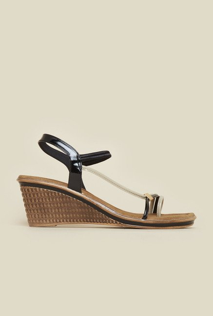Inc.5 Black Wedge Heeled Sandals