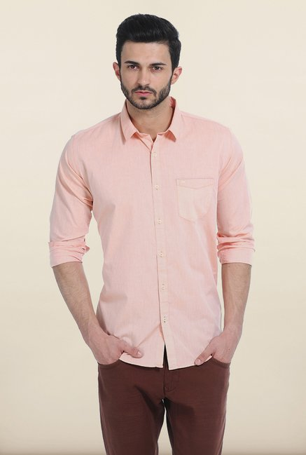 Basics Peach Nougat Slim Fit Chambray Shirt