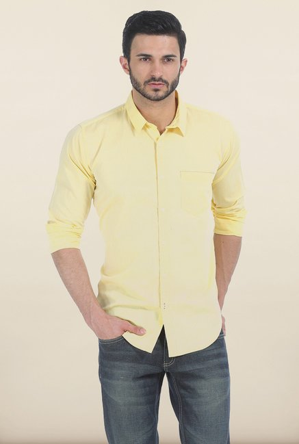 Basics Lemon Meringue Slim Fit Chambray Shirt