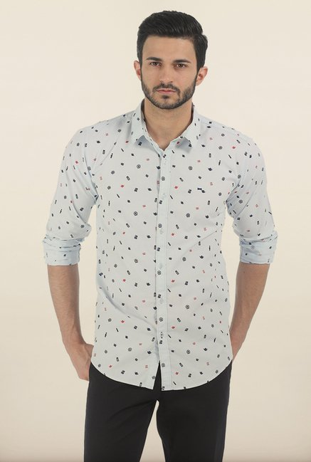 Basics Illusion Blue London Print Slim Fit Shirt