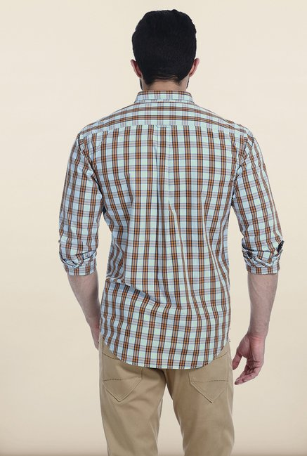 Basics Blue Tartan Checked Slim Fit Shirt