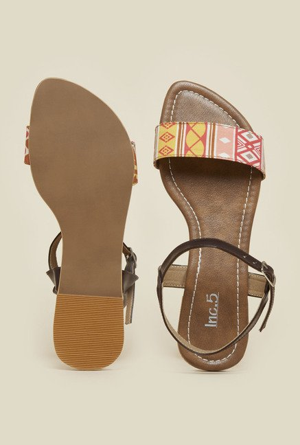 Inc.5 Orange & Brown Back Strap Sandals