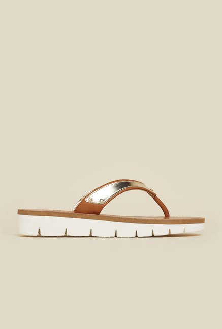 Inc.5 Tan & Gold Platform Sandals