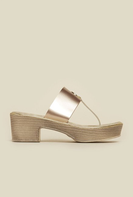 Inc.5 Rose Gold Block Heel Sandals