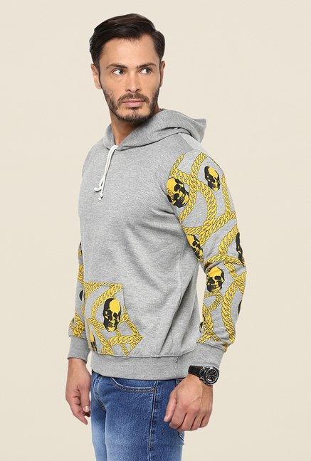 Yepme Wayne Light Grey & Yellow Printed Hoodie