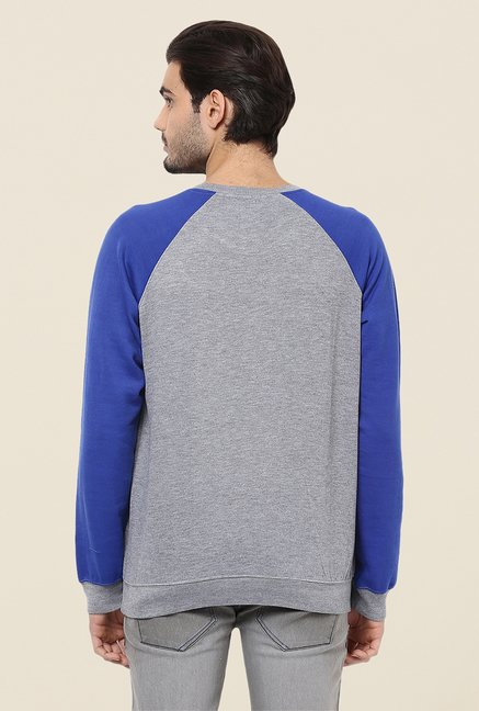 Yepme Marcell Grey & Blue Solid Sweatshirt