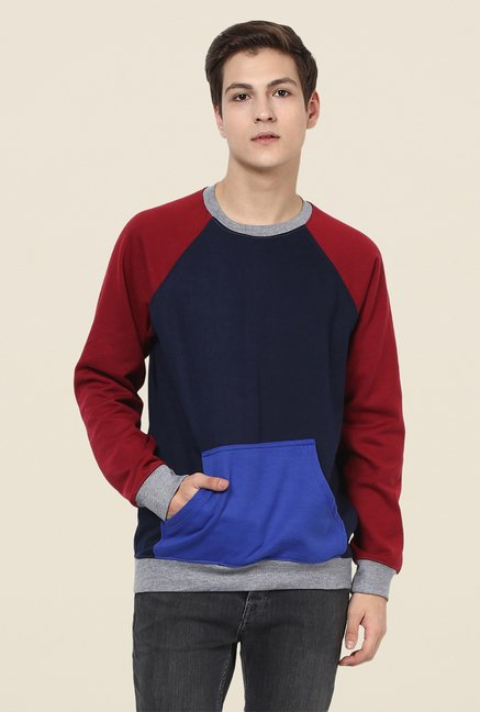 Yepme Marcell Blue & Red Solid Sweatshirt