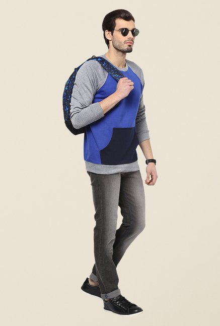 Yepme Marcell Blue & Grey Solid Sweatshirt