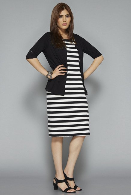 Gia by Westside Black Striped Dress