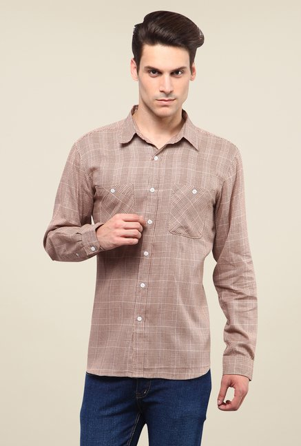 Yepme Brown Jameson Checked Shirt
