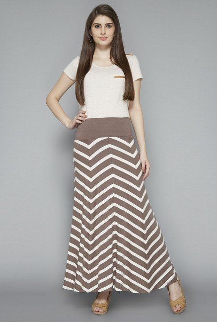 LOV by Westside Taupe Cecila Skirt