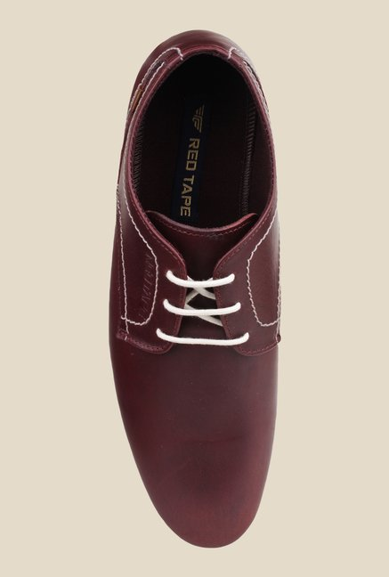 Red Tape Burgundy Derby Shoes