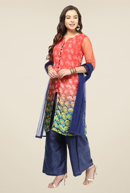 Yepme Flavia Red & Blue Salwar Suit Set