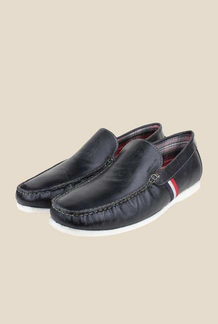 Red Tape Black Leather Loafers