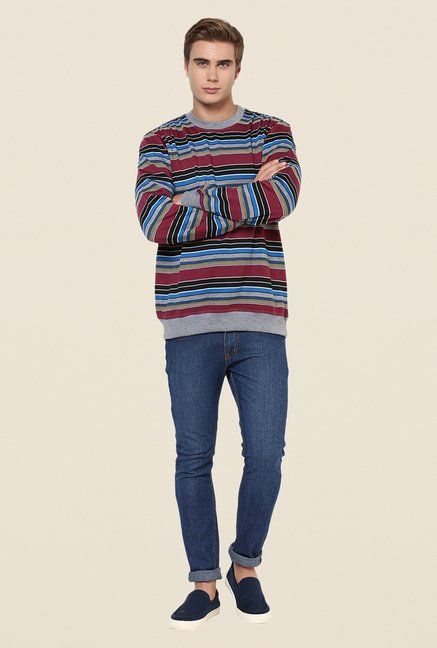 Yepme Gareth Multicolor Striped Sweatshirt