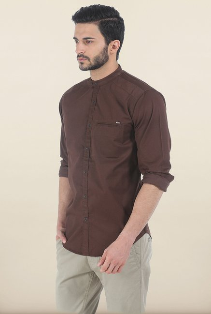Basics Chestnut Brown Fine Twill Slim Fit Shirt