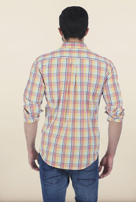 Basics Multicolor Gingham Checked Slim Fit Shirt