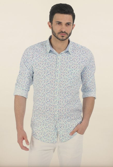 Basics Blue Fish Print Slim Fit Shirt