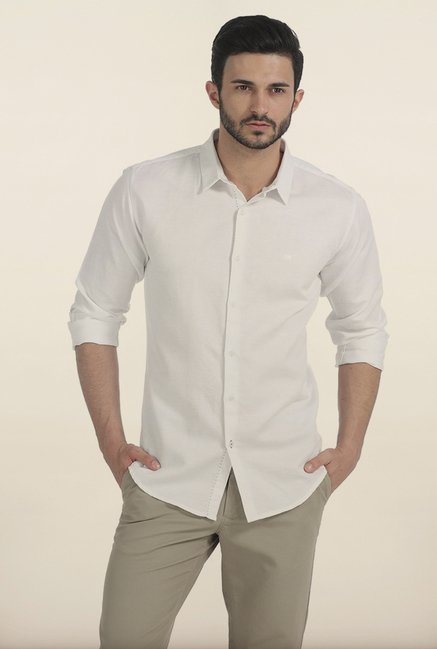 Basics Snow White Herringbone Twill Slim Fit Shirt