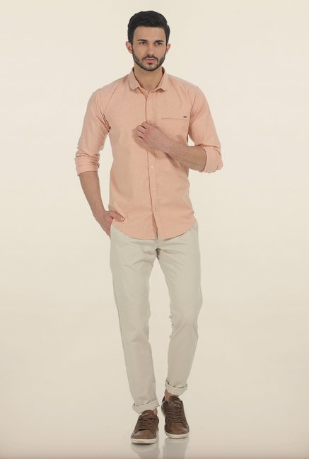 Basics Apricot Ice Oxford Slim Fit Shirt