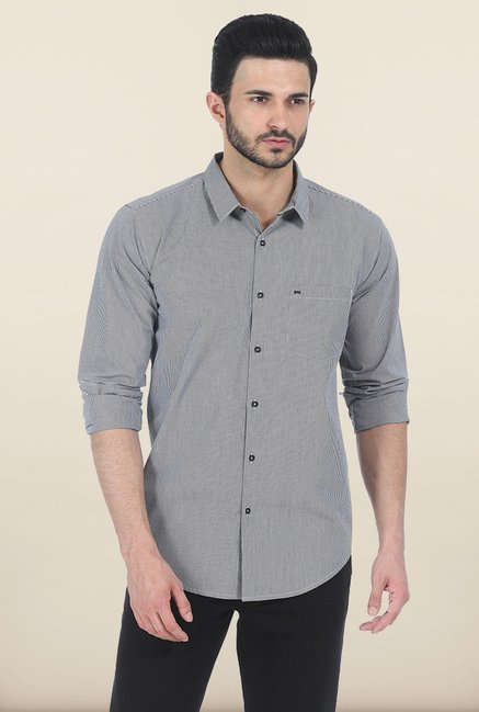 Basics Moonless Night Checked Slim Fit Shirt