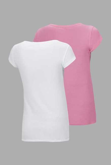 Doone Pink & White Printed Training T Shirt (Set Of 2)