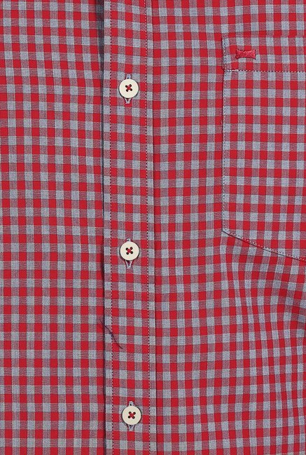Basics Tango Red Gingham Checks Shirt