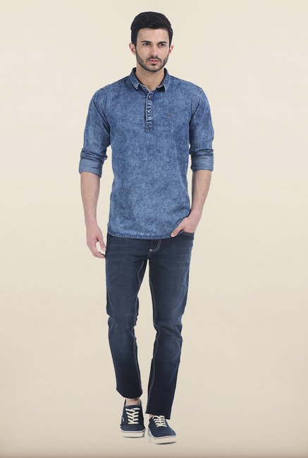 Basics Blue Slim Fit Kurta
