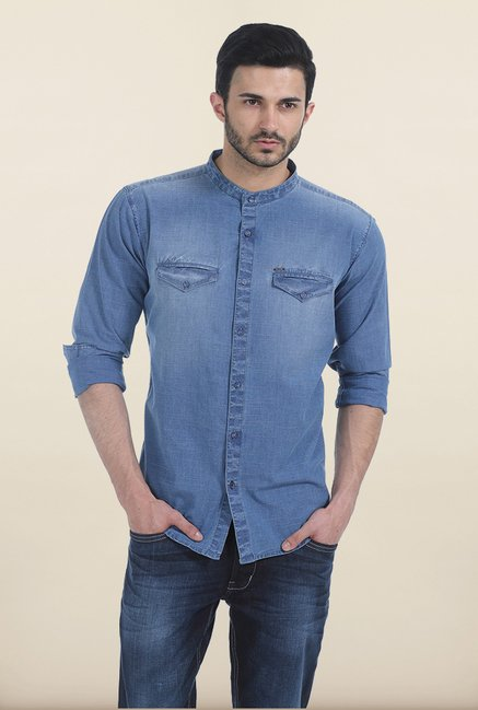 Basics Allure Blue Indigo Denim Slim Fit Shirt