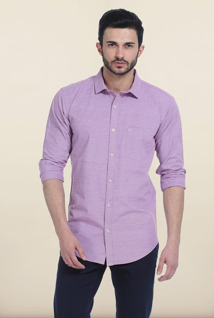 Basics Sheer Lilac Peached Fila fil Slim Fit Shirt
