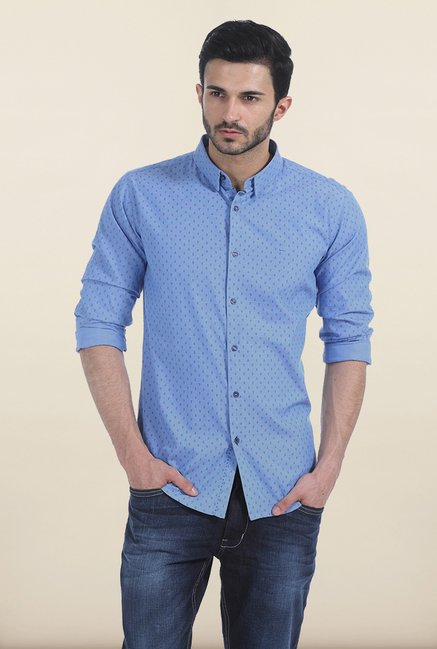 Basics Allure Blue Anchor Print Slim Fit Shirt